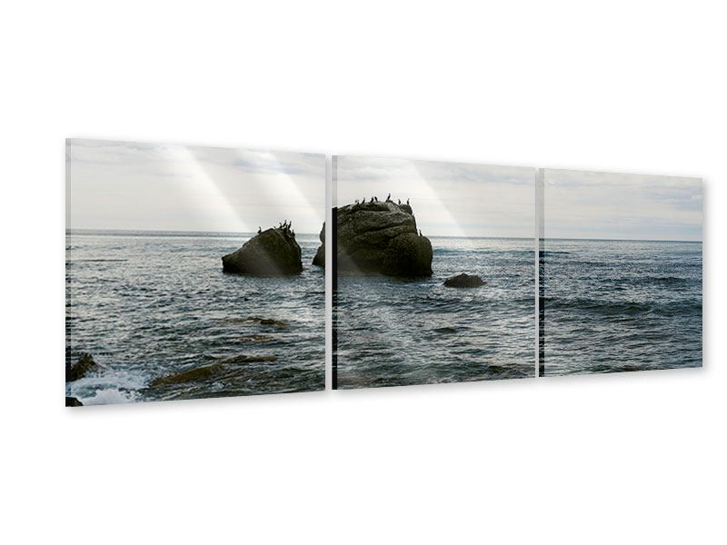 Panorama Acrylglasbild 3-teilig Leise Wellen