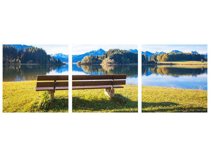 Panorama Acrylglasbild 3-teilig Sitzbank mit Bergpanorama