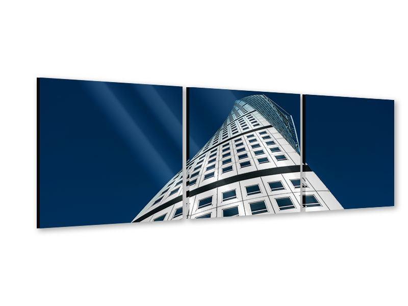 Panorama Acrylglasbild 3-teilig Meisterstück Wolkenkratzer
