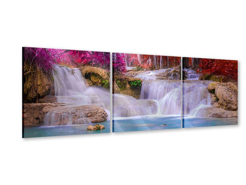 Panorama Acrylglasbild 3-teilig Paradiesischer Wasserfall