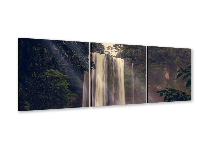 Panorama Acrylglasbild 3-teilig Wasserfall in Mexiko
