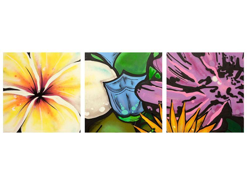 Panorama Acrylglasbild 3-teilig Graffiti Flowers