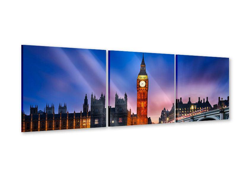 Panorama Acrylglasbild 3-teilig Nachts am Big Ben