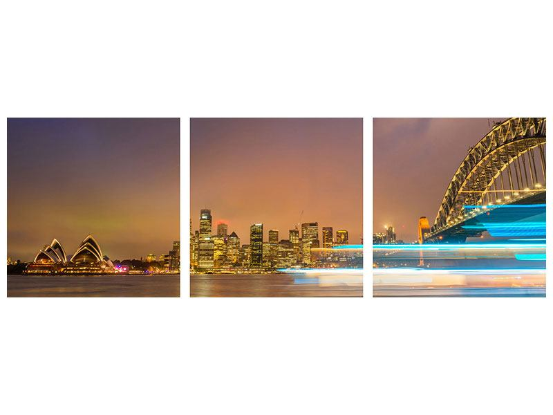 Panorama Acrylglasbild 3-teilig Skyline Opera House in Sydney im Abendlicht