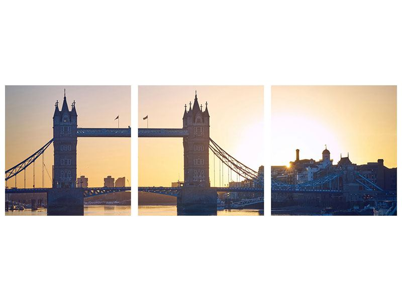 Panorama Acrylglasbild 3-teilig Tower Bridge bei Sonnenuntergang