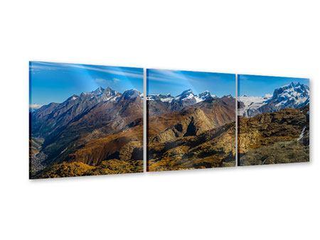 Panorama Acrylglasbild 3-teilig Schweizer Alpen im Frühling