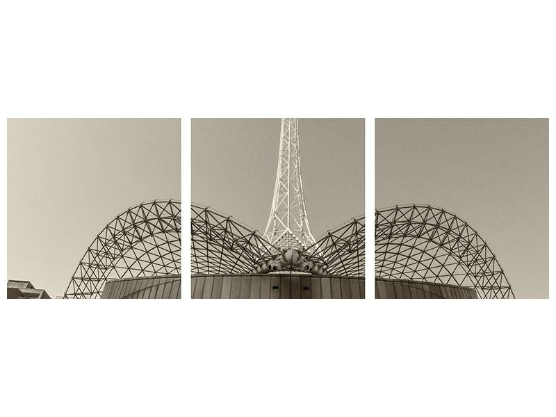 Panorama Acrylglasbild 3-teilig Close Up Wolkenkratzer