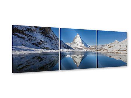Panorama Acrylglasbild 3-teilig Der Riffelsee am Matterhorn