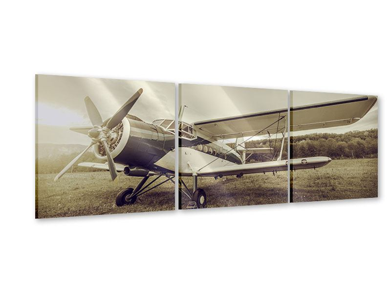 Panorama Acrylglasbild 3-teilig Nostalgisches Flugzeug im Retrostyle