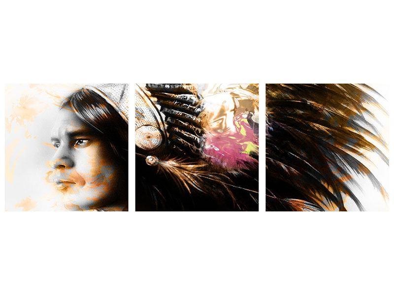 Panorama Acrylglasbild 3-teilig Kunstvolles Indianer-Portrait