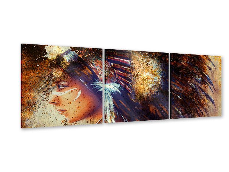 Panorama Acrylglasbild 3-teilig Indianer