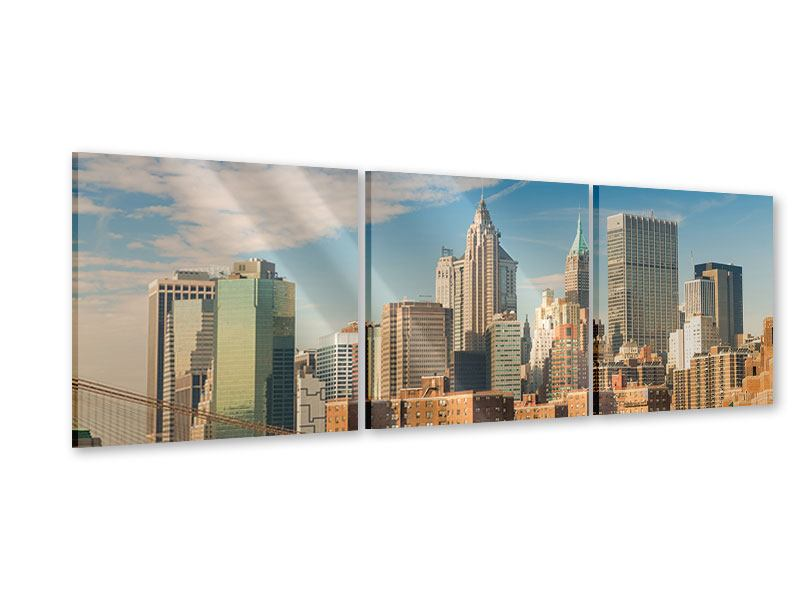 Panorama Acrylglasbild 3-teilig Skyline New York