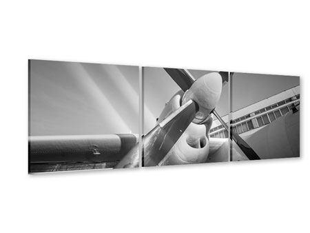 Panorama Acrylglasbild 3-teilig Nostalgisches Flugzeug