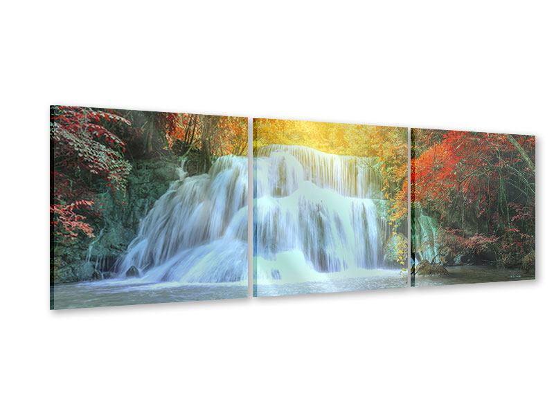 Panorama Acrylglasbild 3-teilig Wasserfall im Licht