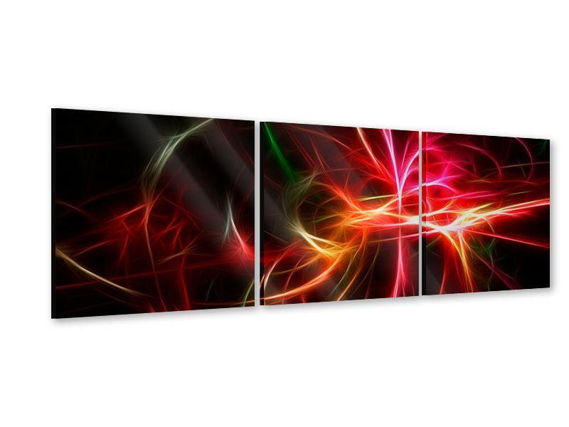 Panorama Acrylglasbild 3-teilig Fraktales Lichtspektakel