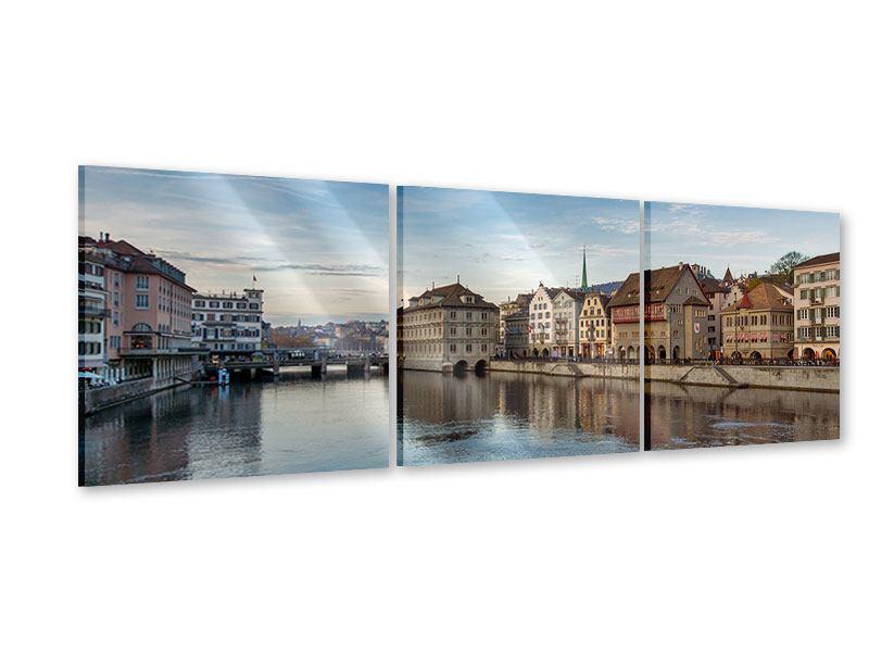 Panorama Acrylglasbild 3-teilig Kosmopolitisches Zürich
