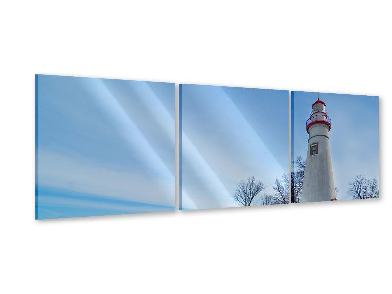 Panorama Acrylglasbild 3-teilig Leuchtturm im Schnee