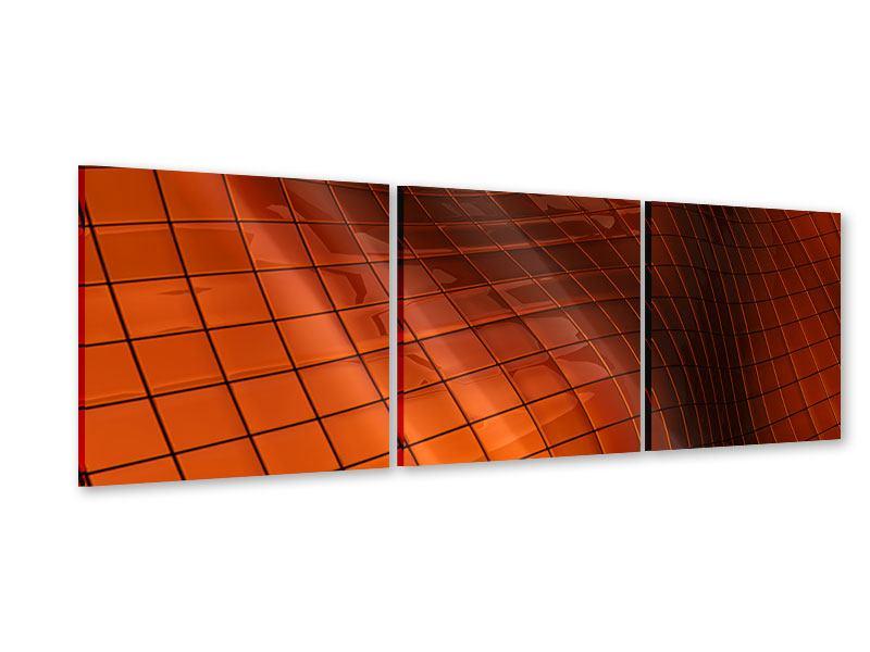 Panorama Acrylglasbild 3-teilig 3D-Kacheln
