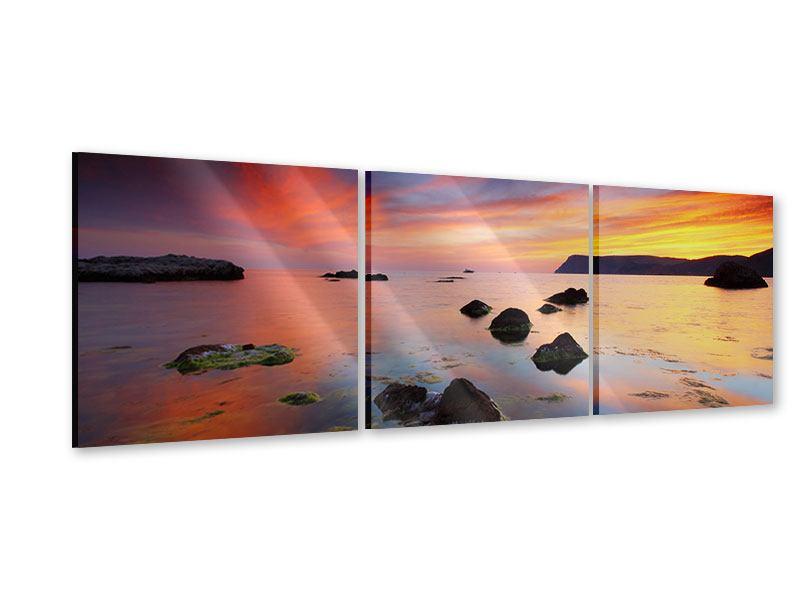 Panorama Acrylglasbild 3-teilig Ein Sonnenuntergang am Meer