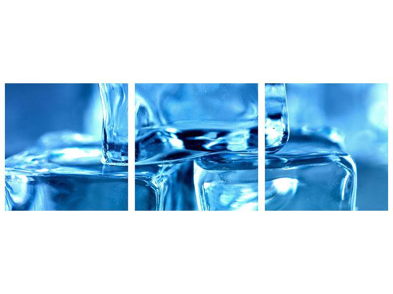 Panorama Acrylglasbild 3-teilig Eiswürfel XXL