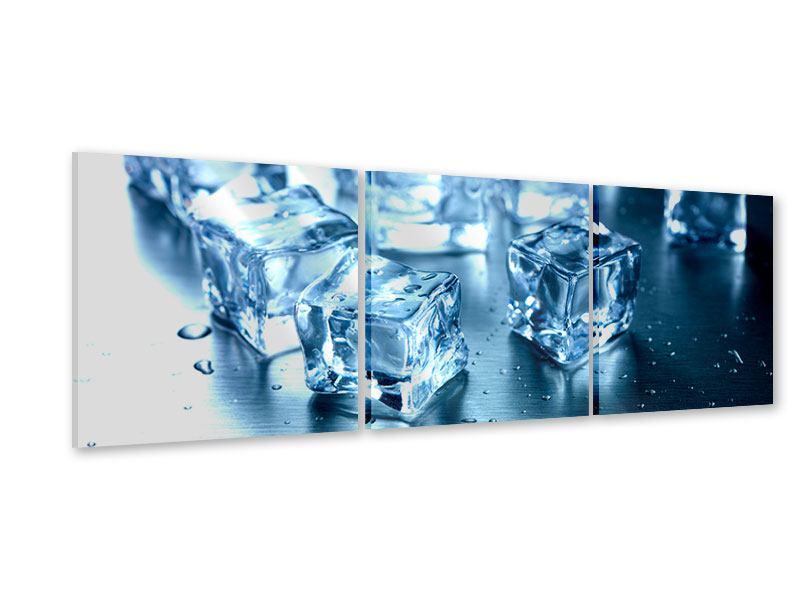 Panorama Acrylglasbild 3-teilig Viele Eiswürfel