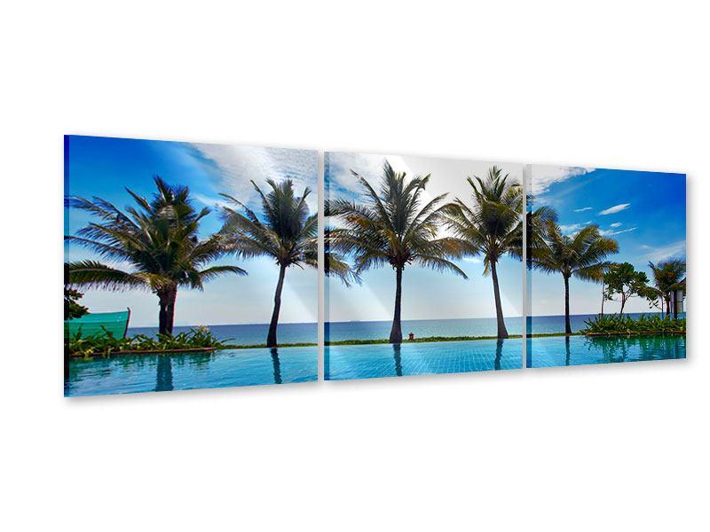Panorama Acrylglasbild 3-teilig Strandvilla