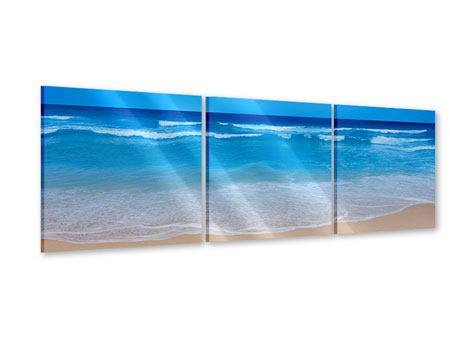 Panorama Acrylglasbild 3-teilig Sanfte Strandwellen