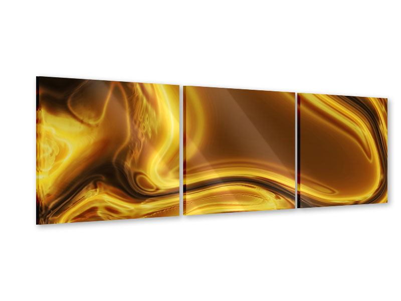 Panorama Acrylglasbild 3-teilig Abstrakt Flüssiges Gold