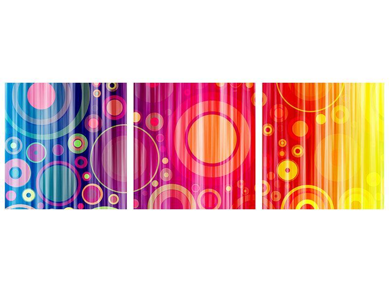 Panorama Acrylglasbild 3-teilig Grunge-Retrokreise