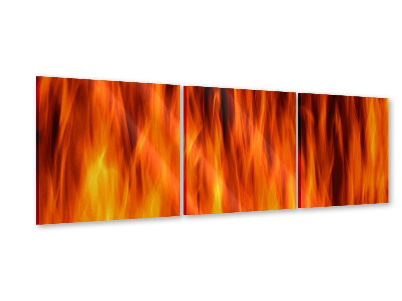 Panorama Acrylglasbild 3-teilig Feuer Close Up