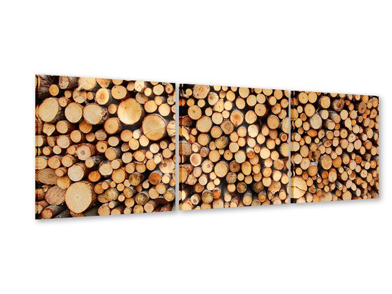 Panorama Acrylglasbild 3-teilig Holzstämme