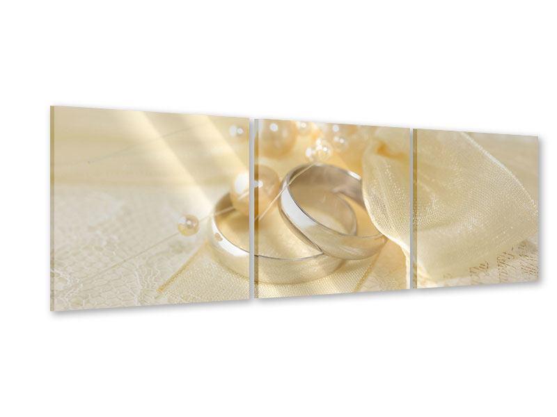 Panorama Acrylglasbild 3-teilig Trauringe