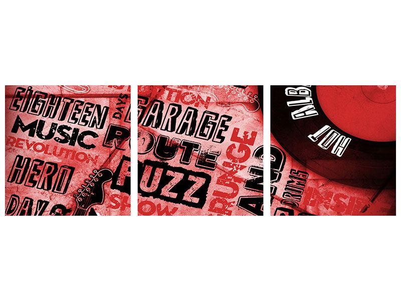 Panorama Acrylglasbild 3-teilig Writings Music Grunge