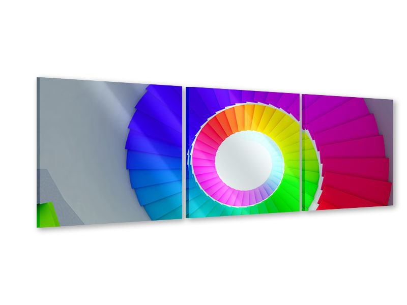 Panorama Acrylglasbild 3-teilig Bunte Wendeltreppe 3D