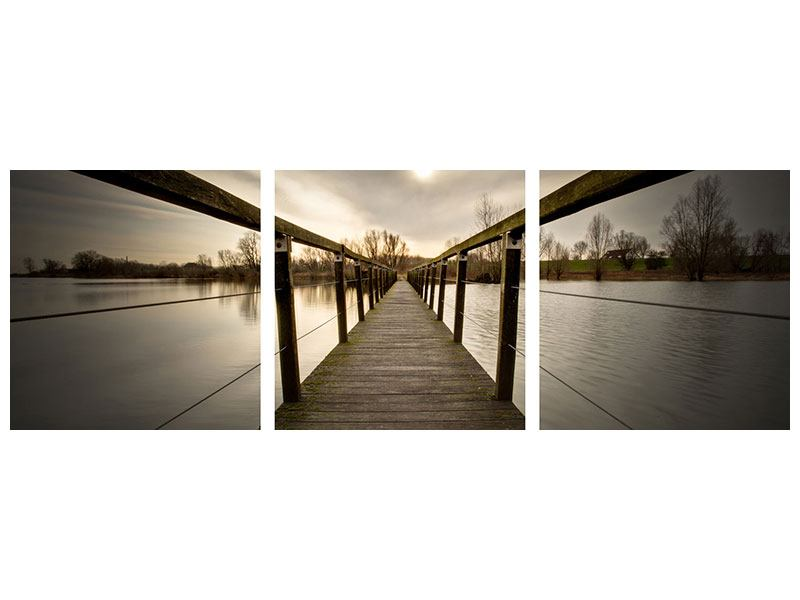 Panorama Acrylglasbild 3-teilig Die Holzbrücke