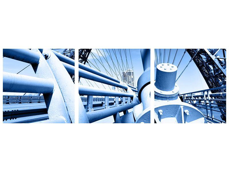 Panorama Acrylglasbild 3-teilig Avantgardistische Hängebrücke