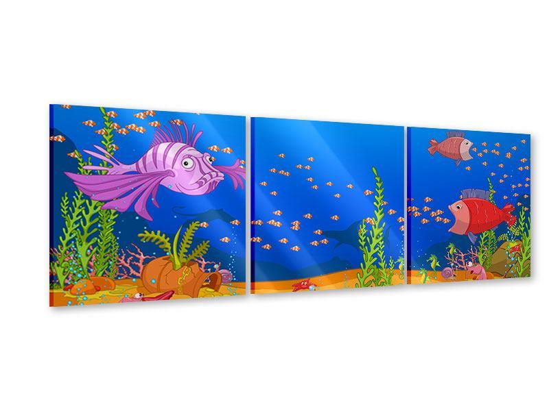 Panorama Acrylglasbild 3-teilig Der Schatz unter Wasser