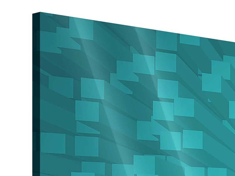Panorama Acrylglasbild 3-teilig 3D-Kubusse