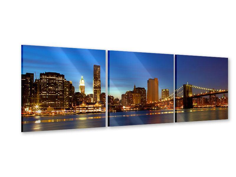 Panorama Acrylglasbild 3-teilig Skyline Manhattan im Lichtermeer