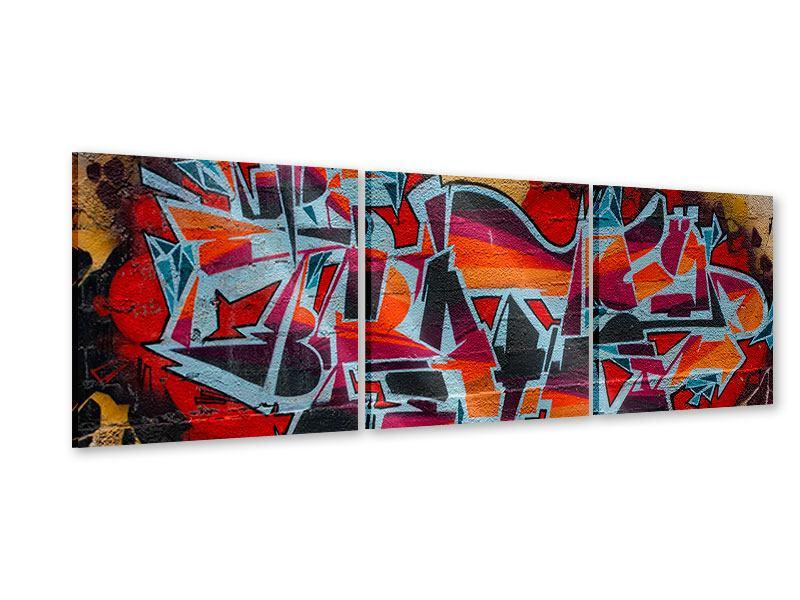 Panorama Acrylglasbild 3-teilig New York Graffiti