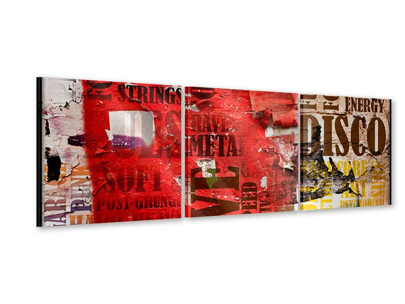 Panorama Acrylglasbild 3-teilig Musiktext im Grungestil
