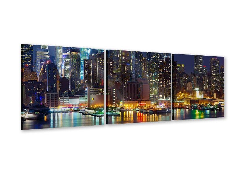 Panorama Acrylglasbild 3-teilig Skyline New York Midtown bei Nacht