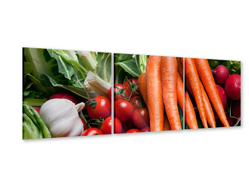 Panorama Acrylglasbild 3-teilig Gemüse