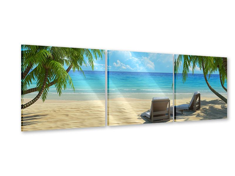 Panorama Acrylglasbild 3-teilig Strandparadies