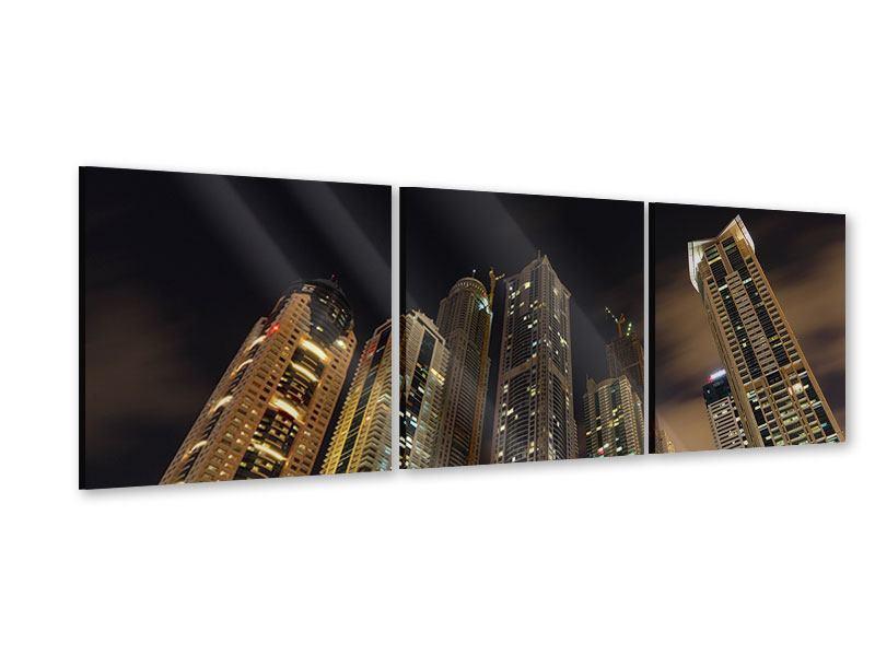 Panorama Acrylglasbild 3-teilig Wolkenkratzer Dubai Marina