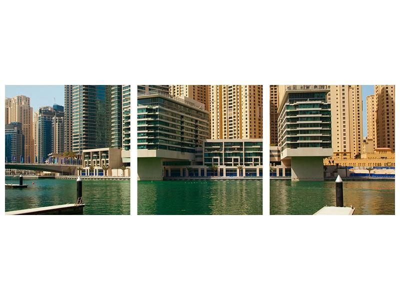 Panorama Acrylglasbild 3-teilig Spektakuläre Wolkenkratzer Dubai