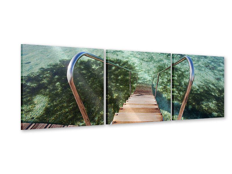 Panorama Acrylglasbild 3-teilig Bad im Meer
