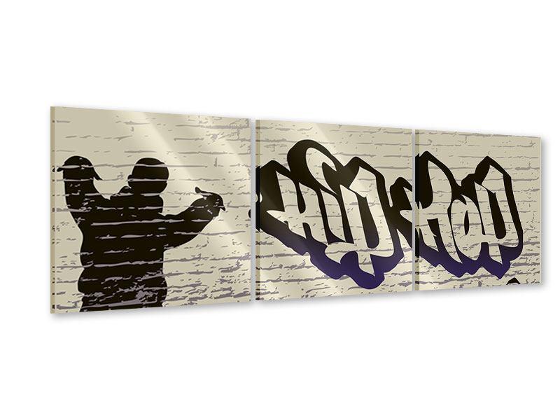 Panorama Acrylglasbild 3-teilig Graffiti Hip Hop