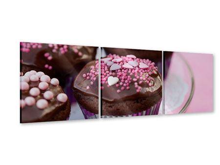 Panorama Acrylglasbild 3-teilig Muffins