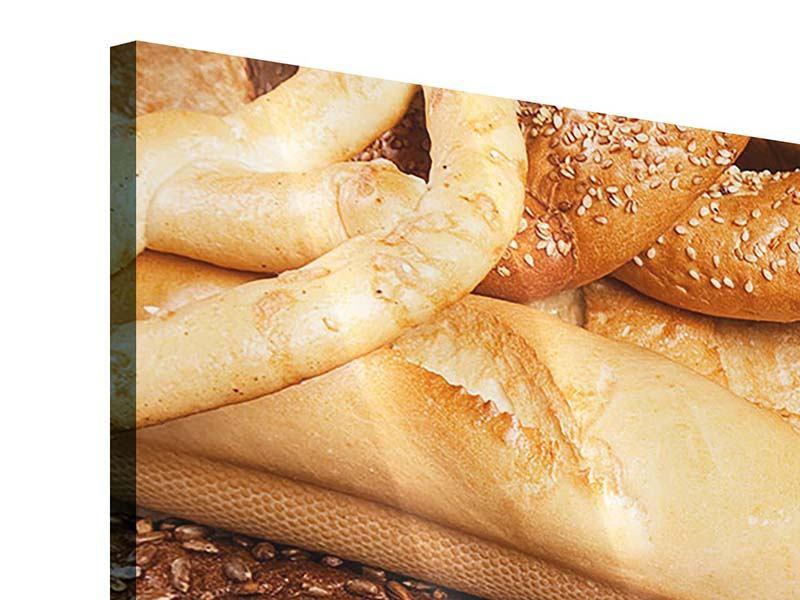 Panorama Acrylglasbild 3-teilig Brot und Bretzel